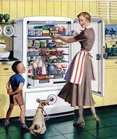 """Vintage Kitchen """"Can I have a snack Mom? Retro Images, Vintage Pictures, Vintage Images, Vintage Prints, Vintage Posters, Retro Vintage, Retro Ads, Vintage Advertisements, Vintage Housewife"""
