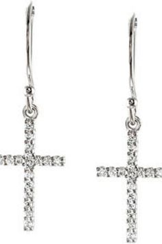 1/6 ct tw Diamond Petite Cross Earring     Quality - 14K White    Size - 1/6 CT TW     Finish - Polished     Series Description - TINY CROSS EARRINGS     This item is a part of the Isabella Collection.     Weight: 0.6604 DWT ( 1.03 grams)     Comes Set With     Qty   Stone     34 - 01.00 MM (01.00 - 01.15) Full Cut, SI1 ROUND FULL CUT G-H GENUINE DIAMOND       ST-R16600    thesgdex.com