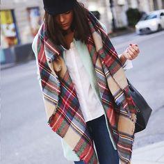 Blanket Oversized Tartan Scarf Wrap Shawl Plaid Cozy Checked Pashmina Women Perfectly on trend this Fall.