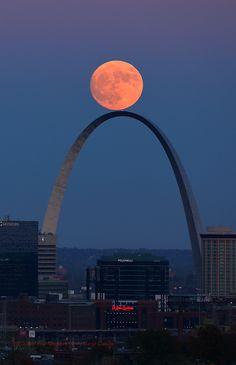 The Super Moon rises above the Gateway Arch in St. © David Carson / AP / SIPA Plus Beautiful Moon, Beautiful World, Beautiful Places, Cool Photos, Beautiful Pictures, Gateway Arch, Shoot The Moon, Moon Pictures, Saint Louis