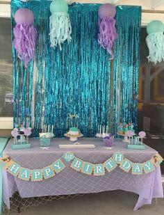 Trendy Birthday Party Under The Sea Girl Trendy Geburtstagsfeier unter dem Sea Girl . Mermaid Party Decorations, Mermaid Parties, Birthday Party Decorations, 1st Birthday Parties, 4th Birthday, Cute Birthday Ideas, Third Birthday Girl, Mermaid Theme Birthday, Little Mermaid Birthday