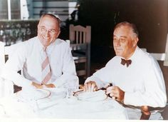 This photo documents the first meeting between Harry S. Truman and President Franklin D. Roosevelt after Truman won the Democratic Vice-Presidential nomination at the Democratic National Convention.