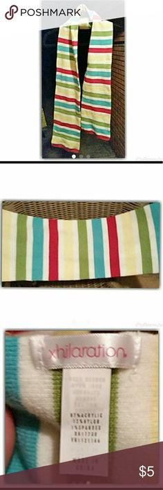 Xhileration striped scarf Xhileration red, white, aqua blue, green, yellow%acrylic scarf by Xhileration#handwashcold#tumbledrylow Xhilaration Accessories Scarves & Wraps