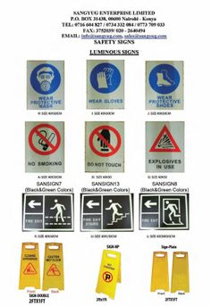 Fantastic range of SAFETY / WARNING SIGNS. These include free standing warning signs to wall mounted safety signs for various requirements. The warning signs are multi purpose, with different messages on each side, to allow for multi uses. Blank signs are also available, and printing can be done with messages of your choice. For our complete range of products, please visit our showroom in Ngara, Nairobi or visit www.sangyug.com
