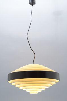 Cruno Gatta; #1088 Enameled Metal Ceiling Light for Stilnovo, 1957.