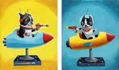 Space Rangers - Boston Terrier Print from oil painting # Etsy.