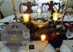 New year's eve tablescape by Art Decoration & Crafting Christmas Fun Facts, Christmas Time, Holiday, New Years Eve, Home Decor Inspiration, Decor Crafts, Tablescapes, Table Settings, Greek
