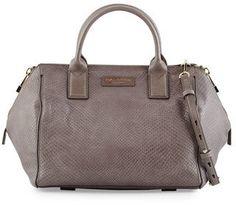 Halston Heritage Lizard-Embossed Leather Medium Satchel Bag, Dark Gravel  ON SALE: Was $650.00 Reduced to: $390.00  40% OFF