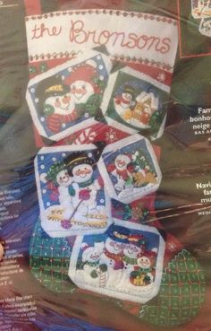 "Bucilla 18"" Christmas Felt Stocking Kit Snowman Family Christmas Sequins Vtg…"
