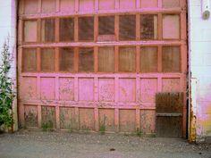 Faded garage door.