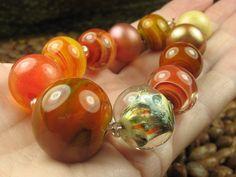 Into the Fire Lampwork Art Beads ~Sunburst~ Artist handmade glass beads SRA OOAK
