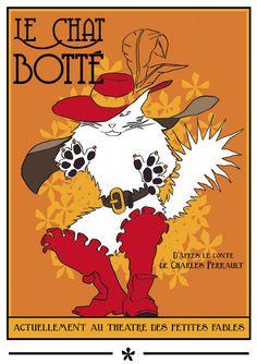 Affiche du Chat Botté (Puss in Boots) 1928 Carotte; illustration d'après le conte de Charles Perrault. © Le Chat à Botter