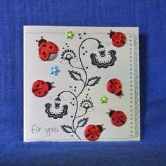 $4.00 Six Ladybirds Birthday Card on Silver by PaperWorks on Handmade Australia