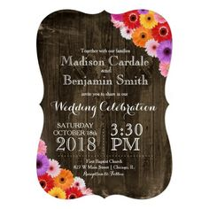 Colorful Daisies Rustic Barn Wood Wedding Invites