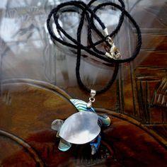Abalone Sea Turtle Pendant on Sustainable Black Hemp Cord Hemp Necklace, Washer Necklace, Pendant Necklace, Abalone Shell, Shell Pendant, Turtle, Jewlery, Shells, Pendants