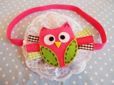 Sweet owl elastic headband, NB and up.  http://www.etsy.com/listing/89816239/sweet-owl-fuchsia-green-brown-lace