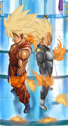 Goku and Vegeta SSJ in Whis Uniform by NovaSayajinGoku.deviantart.com on @DeviantArt