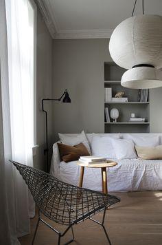 Elisabeth Heier livingroom minimal Scandi style with stunning lamps