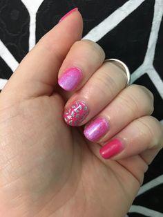 Sweet pink nails done from home in 15 minutes.  Step 1. TruShine Base coat  Step 2. TruShine Flamingo Step 3. Chromatics Ultraviolet on index and ring finger Step 4. TruShine top coat  Step 5. Accent with clear Geo Diamond nail wrap  <3  #easynailart #noskillneeded #nails #mani #diynails #pinknails #pink