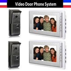 226.00$  Buy now - http://ali2l7.shopchina.info/go.php?t=32266491227 - Video Door Phone Intercom Doorbell Doorphones Intercom 2 Monitor Video Intercom 2 Door Camera Doorbell Camera 7 Inch Color Lcd 226.00$ #magazine