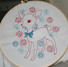 vintage deer embroidery pattern