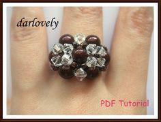 Swarovski Crystal Twin Flower Bronze Pearl Ring PDF Tutorial