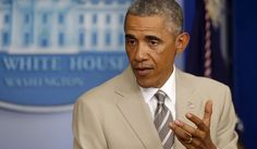 President Barack Obama speaks the economy, Iraq, and Ukraine, Thursday, Aug. 28, 2014, in the James Brady Press Briefing Room of the White H...