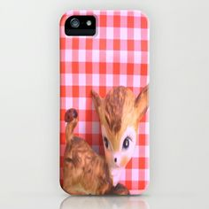Ladybug on my tail iPhone & iPod Case by Vintage  Cuteness - $35.00 #vintage #deer #doe #fawn #kitsch #gingham #red #kawaii #cute #iphone #ipod #case