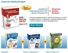A pack of 3 in 1 Package - LogoSmartz Logo Software + Business Stationery Pro + BannerDesignerPro Banner Software. Save worth $100 on purchase of 3 in one pack of Corporate Identity Designer from Logosmartz.