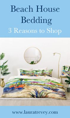 3 reasons to shop this beach house bedding - Caribbean Time duvet cover, shams and coordinating throw pillow - Coastal Living Style