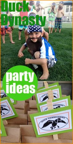 "Duck Dynasty Birthday Party.  This ""Happy Happy Happy"" birthday party would be a party success among any group of boys.  Creative crafts, games,  beards, food and party bags to celebrate your little hunter!"