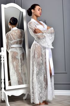 Lace Bridal Robe, Lace Bride, Wedding Lingerie, Bridal Gowns, Bride Dressing Gown, Kimono Dressing Gown, Bridal Robes Getting Ready, Pijamas Women, Divas