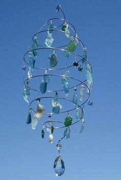 Sea glass or beaded suncatcher or chandelier Sea Glass Crafts, Sea Glass Art, Sea Glass Decor, Stained Glass, Suncatchers, Sea Glass Chandelier, Driftwood Chandelier, Chandelier Crystals, Pendant Lamps
