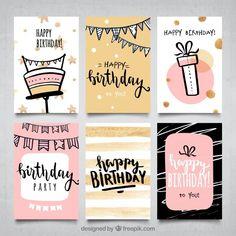 Colección de tarjetas de cumpleaños para... | Free Vector #Freepik #freevector #cumpleanos #invitacion #feliz-cumpleanos #abstracto Bff Birthday Gift, Girl Birthday Cards, Birthday Tags, Birthday Cards For Friends, Happy Birthday Wishes, Best Birthday Cards, Free Happy Birthday Cards, Birthday Sayings, 70th Birthday