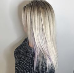 Blonde balayage with peekaboo lavender for a color pop