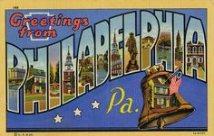 Greetings from Philadelphia, Pennsylvania - Large Letter Postcard