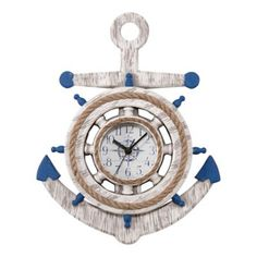 Bring coastal charm to any room in your home with La Crosse Technology's Anchor Wall Clock. The wonderful nautical design features a weathered white finish with blue accents, rope accent around dial and helm, plus a glass lens and metal hands. Nautical Design, Nautical Theme, Nautical Style, Coastal Style, Nautical Bedroom, Coastal Bedrooms, Nautical Anchor, Home Decor Accessories, Decorative Accessories