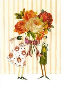 Two friends holding large bouquet of roses Silke LEFFLER
