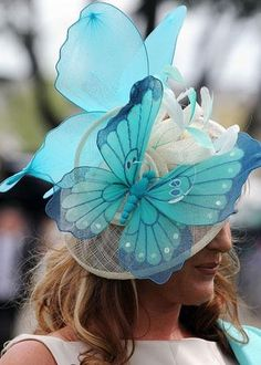 Ascot Hat with blue butterflies