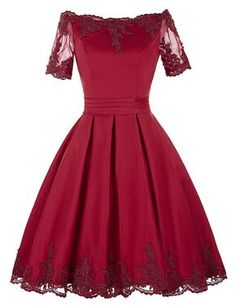 Burgundy Short A-Line Homecoming Dress Featuring Lace Appliquéd Off Shoulder Bodice with Sheer Sleeves and Lace-Up Back