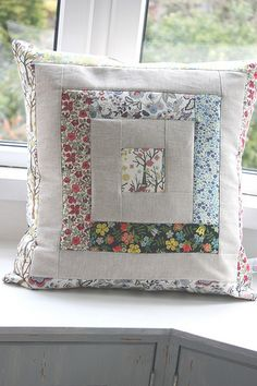 liberty and linen log cabin cushion cover by thefloralsuitcase Patchwork Cushion, Quilted Pillow, Cushion Fabric, Diy Pillow Covers, Decorative Pillow Covers, Cushion Covers, Burlap Pillows, Sewing Pillows, Throw Pillows