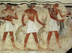 bring offerings of food for Nedamun to enjoy in the afterlife.  From the wall paintings of the tomb of Nebamun, a wealthy accountant in the Temple of Amun at Thebes circa 1350BC.  British Museum, London.