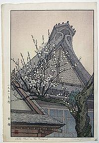 """Toshi Yoshida. """"White Plum in the Farmyard"""" Woodblock print"""