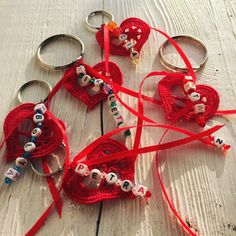 Embroidery heart keychain