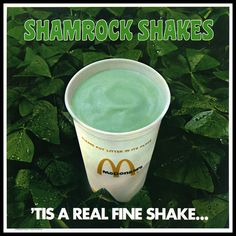 McDonald's - Shamrock Shakes sign - Tis a Real Fine Shake - plastic in-store signage - 1974 Make Your Own, Make It Yourself, How To Make, Erin Go Braugh, Irish Jokes, Store Signage, Mint Extract, Shamrock Shake, Ice Cream 1