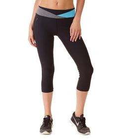 Another great find on #zulily! Black & Turquoise Color Block Performance Capri Leggings #zulilyfinds