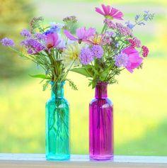 Gypsy Purple home. Colored Glass Bottles, Bottles And Jars, Coloured Glass, Colored Vases, Glass Jars, Purple Home, Bloom, My Flower, Beautiful Flowers