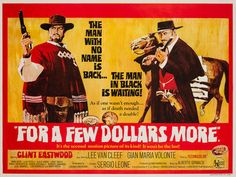 Original 1967 For a Few Dollars More UK Quad film movie poster