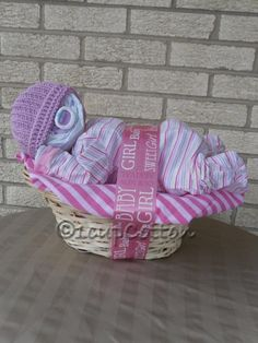 Deluxe Girl Napping Baby BasketTM in purple and pink by 1cupCotton, $45.00