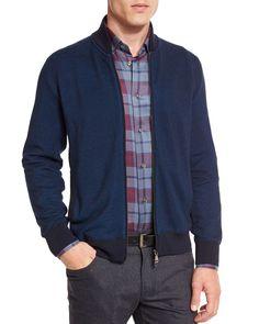 Birdseye Cashmere-Blend Full-Zip Jacket, Blue, Size: 58 - Brioni